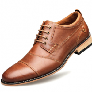 Men Stylish Cap Toe Stitching Non Slip Lace Up Casual Formal Shoes discountshub