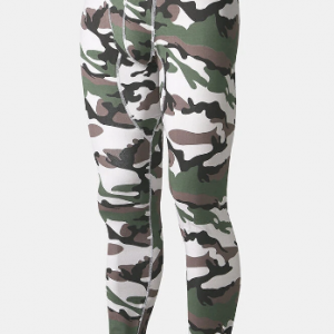Mens Camouflage Print Warm Stretch Slim Fit Thermal Underwear Pajamas Pants Long Johns discountshub