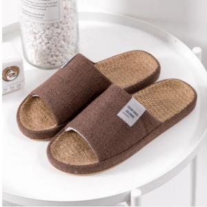 Mens Indoor Comfy Soft Linen House Slippers discountshub