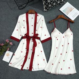 Lisacmvpnel Summer New Print Women Robe Set With Belt Chest Pad Sexy Bathrobe Satin Soft Touch Pyjamas discountshub