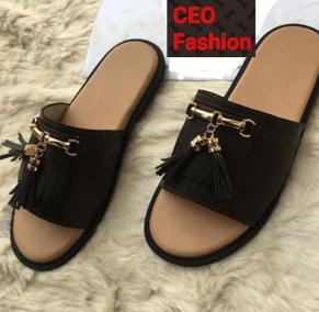 Boss Chocolate Brown Leather Slippers discountshub