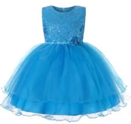 Girl's Pretty Sequence Dress - Sky Blue discountshub