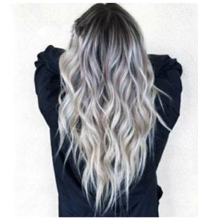Bleaching Dyed Long Curly Hair COS Gray Gradient Female Chemical Fiber Hood discountshub