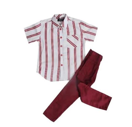 Fashion Front Boys' 2-piece Shirt & Trousers - Wine & White discountshub