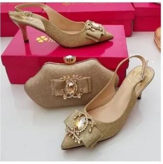 Honey Beauty Matching Shoes & Bag - Gold discountshub