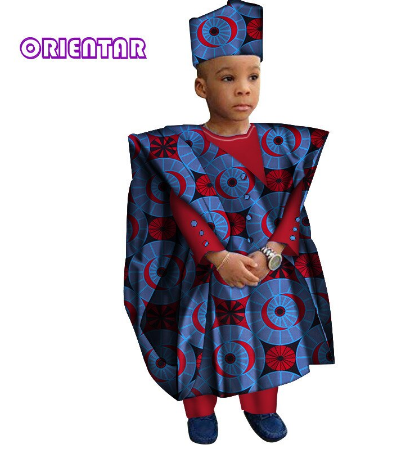 African Clothes with Head Scarf Kids Boy Tops and Pants African Print clothes for Children Bazin Riche Dashiki Gown Set WYT200 discountshub