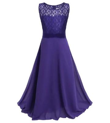 Girls Lace Chiffon Wedding Bridesmaid Party Gown Maxi Girl Long Dress For 4Y-15Y discountshub
