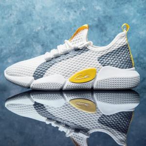 Men Colorblock Mesh Fabric Breathable Sport Casual Running Sneakers discountshub