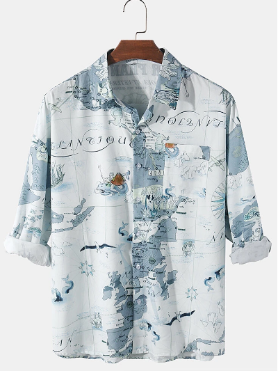 Mens Cotton Map Pattern Print Casual Regular Fit Lapel Long Sleeve Shirts With Pocket discountshub