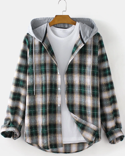 Mens Plaid Button Up Long Sleeve Relaxed Fit Drawstring Hooded Shirts discountshub