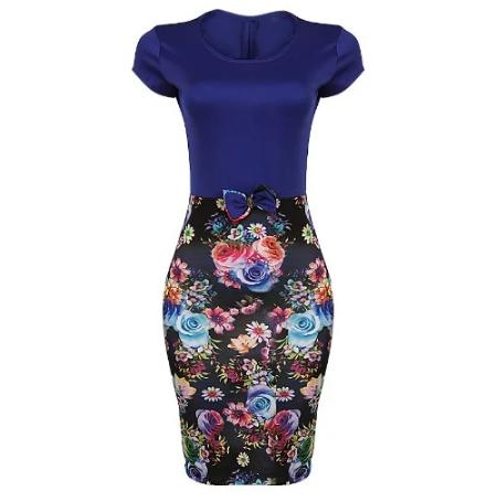 PrncxJewelry Bodycon Dress With Bow - Blue discountshub