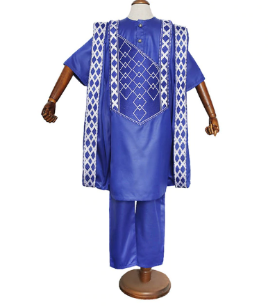H&D African Clothes For Kids Boys Short Sleeve T-shirt Embroidery Dashiki Robe Shirt Pant Set 3 PCS Agbada Suit Children Attire discountshub