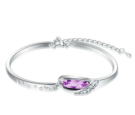 Adjustable Heart Silver Bracelet- Purple stone discountshub