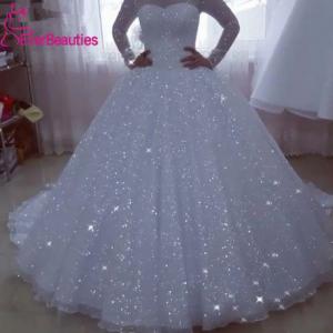 Vestido De Noiva Glittery Wedding Dresses 2020 Ball Gown Long Sleeves Plus Size Princess Bridal Gowns Bride Dress Robe De Mariee discountshub