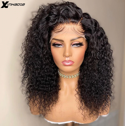 Peruvian 5*5 Silk Base Lace Front Human Hair Wigs with Baby Hair 250 Density Kinky Curly Side Part Lace Front Wigs For Women discountshub