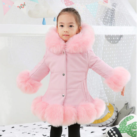 Fashion Baby Winter Warm Fur Coats For Girls Long Sleeve Hooded Thick Girls Jacket For Christmas Party Kids Fur Outwear Clothing discountshub