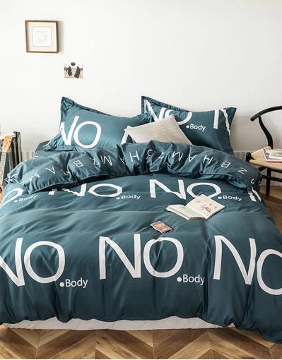 3/4 Pcs Letters Print Solid Color Aloe Cotton Comfy Bedding Set Sheet Duvet Cover Pillowcase discountshub
