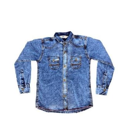 Denim Acid Wash Light Jeans Shirt- Blue discountshub