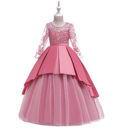 Girl Floral Long-sleeved Wedding Irregular Pleated Tutu Princess Maxi Dress discountshub
