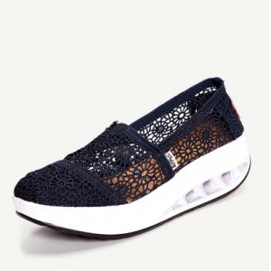 Lace Breathable Platform Rocker Sole Shake Shoes For Women discountshub