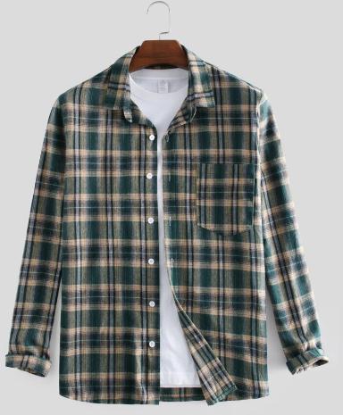 Mens 100% Cotton Casual Plaid Long Sleeve Check Shirt discountshub