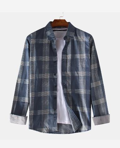 Mens Cotton Plaid Printed Turn Down Color Long Sleeve Shirts discountshub