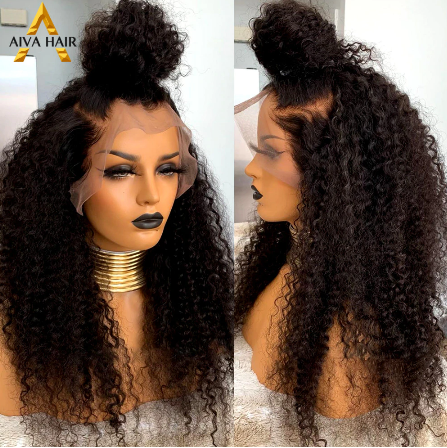 AIVA Black Synthetic Lace Front Wig Long Kinky Curly Wig Heat Resistant Cheap Synthetic Lace Front Wigs For Black Women discountshub