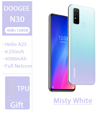 """DOOGEE N30 Full Netcom 6.55""""inch Quad Camera 128GB ROM Octa Core Global Version Cellphone 4500mAh Large Battery Android 10 OS discountshub"""