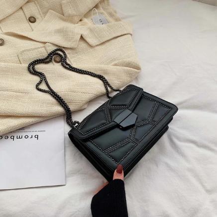 Rivet Chain Brand Designer PU Leather Crossbody Bags For Women 2021 Simple Fashion Shoulder Bag Lady Luxury Small Handbags discountshub