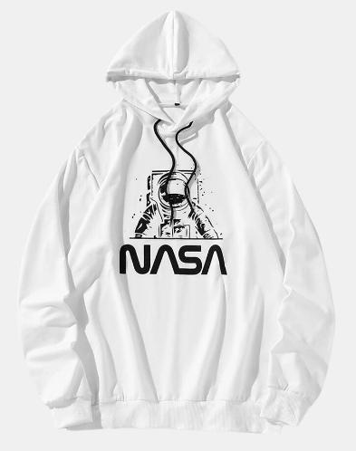 Mens Astronaut NASA Print Cotton Casual Drawstring Overhead Hoodies discountshub