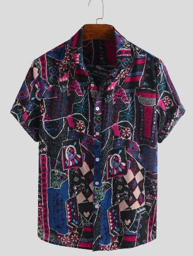 Mens Ethnic Style Pattern Printed Short Sleeve Summer Loose Casual Shirt discountshub