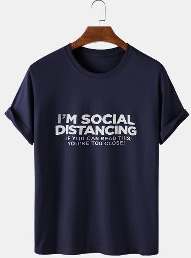 Mens Slogan Print Solid Color Thin & Breathable Casual O-Neck T-Shirts discountshub