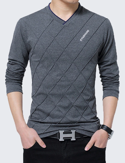 S-3XL Mens Stylish Lines Design Solid Color V-neck Long Sleeve Casual Cotton T-Shirt discountshub