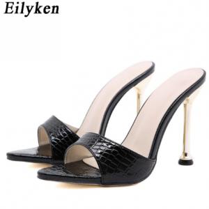 Eilyken Women slippers Snake Print Strappy Mule high heels Slippers Sandals flip flops Pointed toe Slides Party shoes Woman discountshub