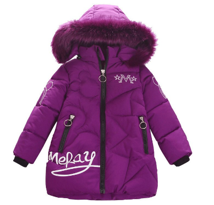 Children's winter down jacket 2020 fashionable new style children's medium and long printed wool collar hooded cotton coat discountshub