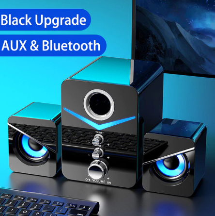 USB Wired Fashion Combination Speaker For Computer Speakers Bass Stereo Music Player Subwoofer Sound Box For PC Phones Sound Bar discountshub