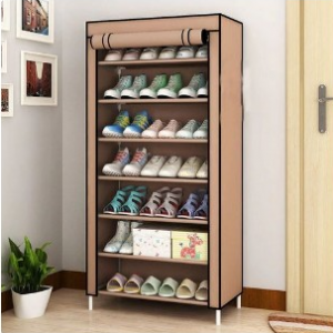 Shoe Rack + Fabric Cover For 24-Pairs 6-Layers Brown Color discountshub