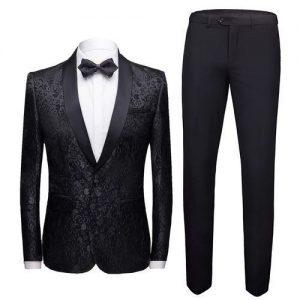 Men's Wedding Tuxedo Suit - Black discountshub