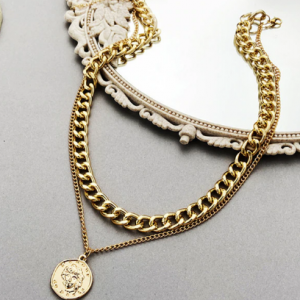 17KM Vintage Multi-layer Coin Chain Choker Necklace For Women Gold Silver Color Fashion Portrait Chunky Chain Necklaces Jewelry discountshub