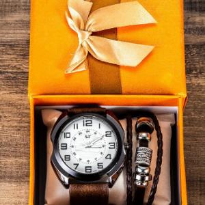 2 Pcs Men Watch Set Dual Dial Quartz Watch Multilayer Leather Bracelet Jewelry Gift Kit discountshub