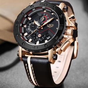 2020LIGE New Fashion Mens Watches Top Brand Luxury Big Dial Military Quartz Watch Leather Waterproof Sport Chronograph Watch Men discountshub