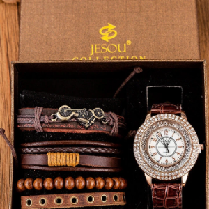5 Pcs Men Watch Set Diamond Leather Quartz Watch Multilayer Beaded Bracelet discountshub