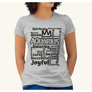Aquarius Design5- Print Tshirt - Grey discountshub