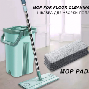 Automatic Spin Mop With Bucket Flat Squeeze Hand Free Wringing Magic Mop Microfiber Mop Pads Home Kitchen Floor Cleaning discountshub