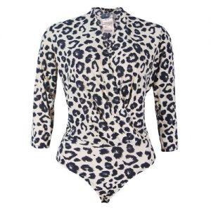 Canill Short Sleeve Drape Bodysuit Blouse - Animal Print discountshub