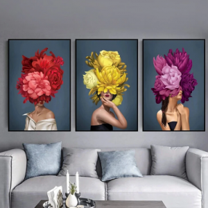 1/3Pcs Characters And Flowers Print Canvas Unframed Wall Art Picture Home Decorate Living Room discountshub