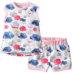 Cloud Print Toddler Girls Clothing Set Tops Vest + Shorts Outfits Clothes For 1Y-7Y discountshub