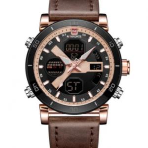 Fashion Dual Display Digital Quartz Wristwatch Leather Strap Multifunctional Sport Watch for Men discountshub