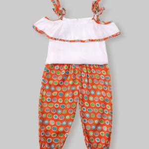 Girl's Retro Print Slip Tops+Pants Casual Clothing Set For 1-8Y discountshub
