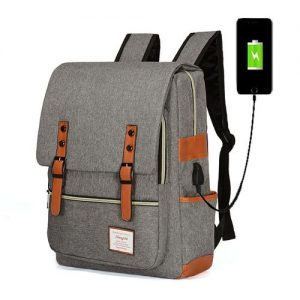 Laptop Bag Backpack For Men With USB Cable Large Capacity - Gray discountshub